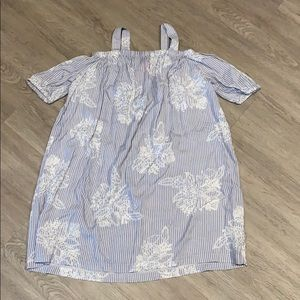 girls light blue/white off the shoulder dress